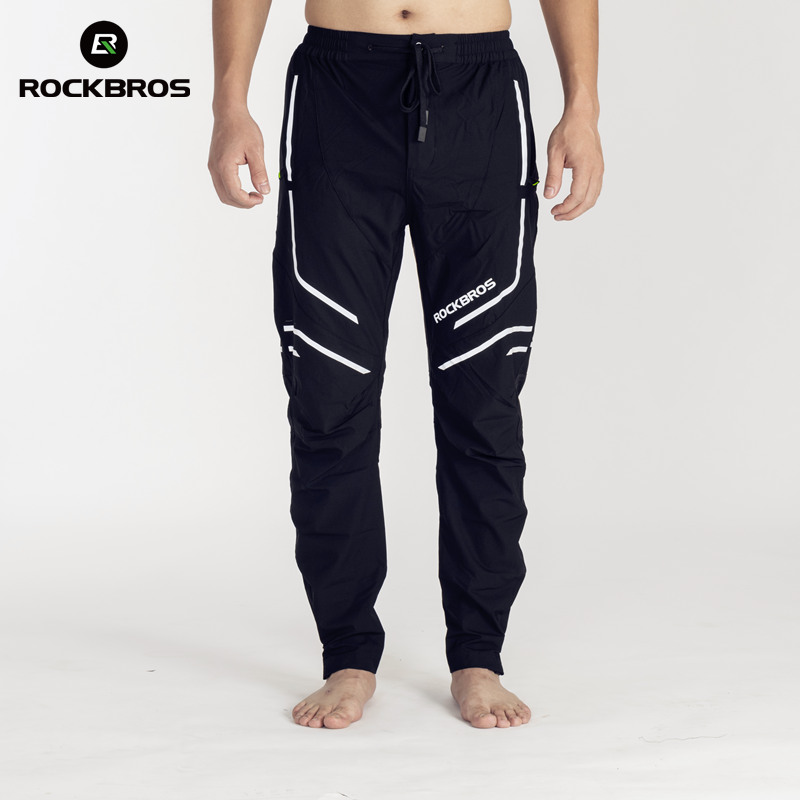 ROCKBROS Running Pants Elasticity Trousers Band Reflective Breathable Hiking Cycling Mount Road Outdoor MEN Sport Pants Clothing outdoor sport pants stitching breathable quick drying pants cycling hiking camping fishing running jogging luminous sports pants
