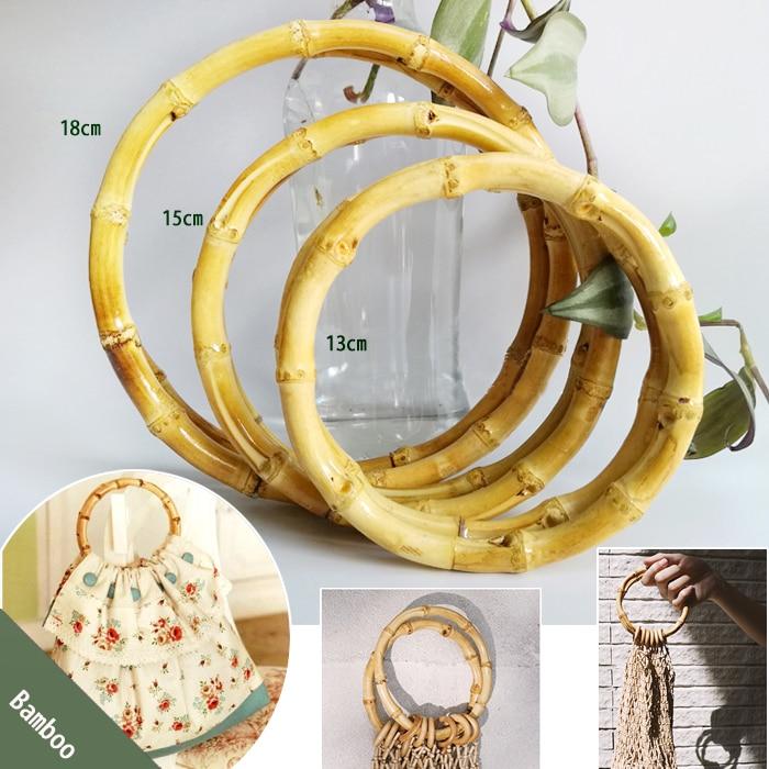 5 Pairs=10 Pieces,13cm 15cm 18cm Bamboo Bag Handle DIY Accessories Bamboo Purse Handle Hand Circle Ring Natural Bamboo O Handle