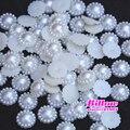 Blanco 10 mm Craft ABS resina Flatback de la flor medias alrededor de la perla de imitación rebordea Cabochon para la ropa zapatos sombreros decoración de DIY B1832