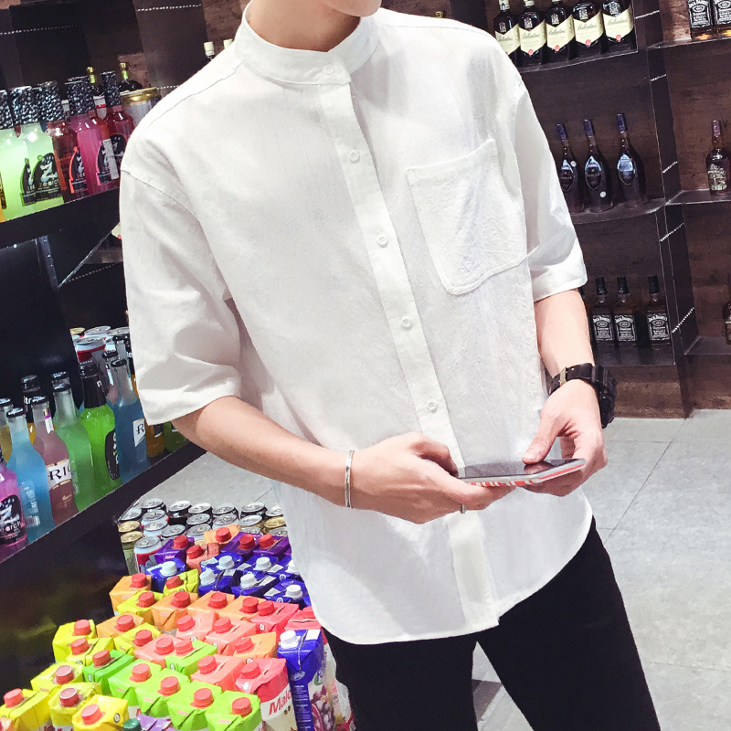 2018 summer linen shirt men high quality casual three quarter regular sleeve comfortable tops fit white popover linen tees male