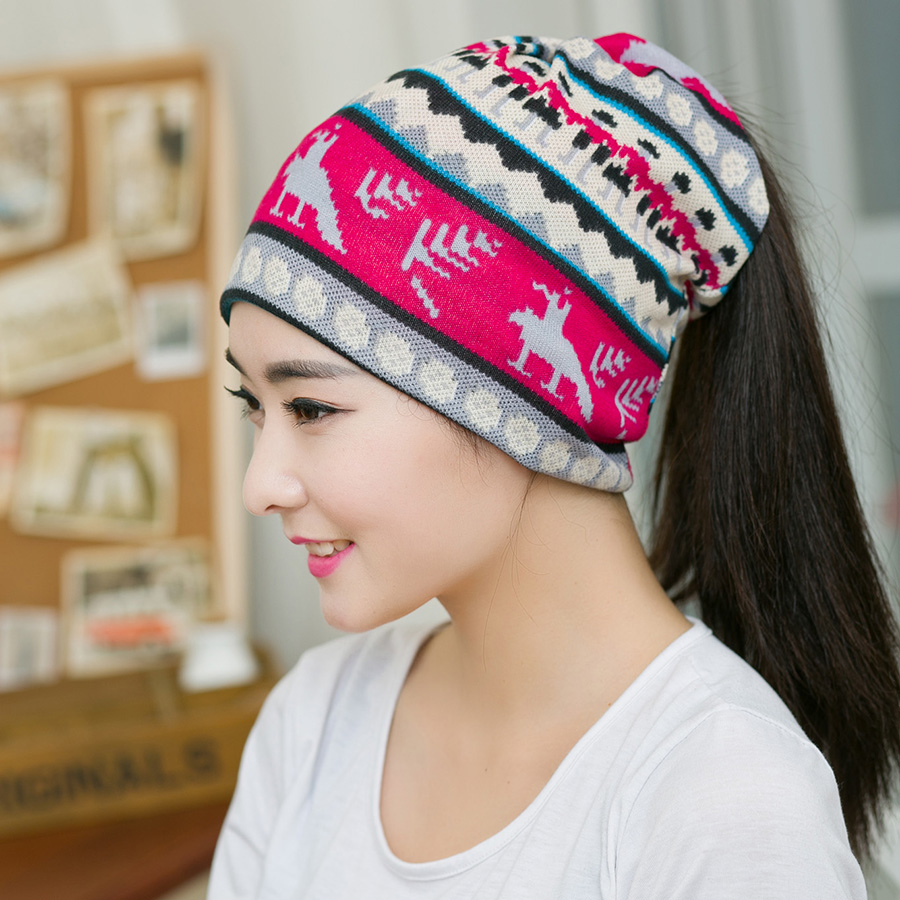 1PC New Spring& Autumn Fashion Hip-Hop Beanies Printed Pattern Multi Purpose Baggy Hat Unisex Scarf  Warm winter hats for women