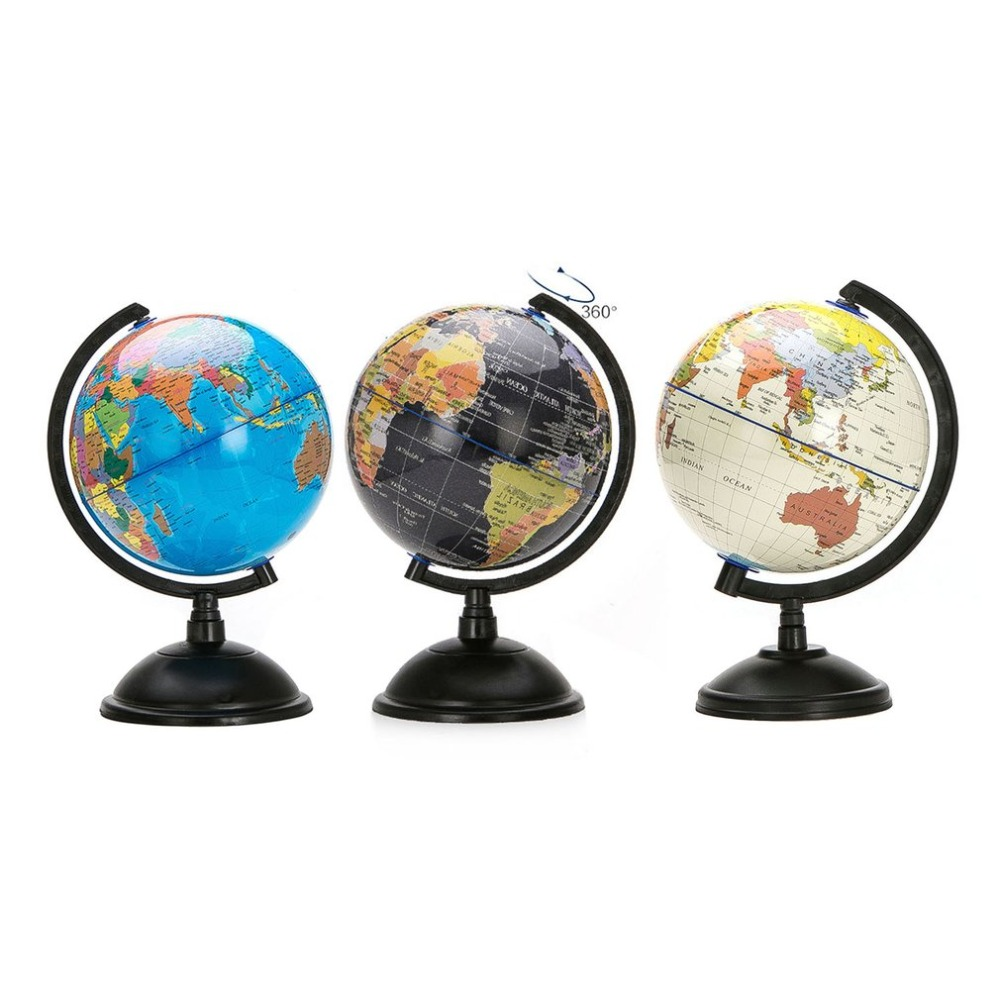 Rotating World Earth Globe Ocean Map Student Education Study Tool 14cm White