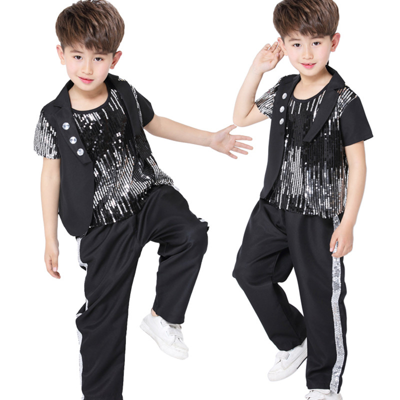 Free Shipping Black Color Sequin Kids Boys Hiphop Clothes Stage Ballroom Children Hip Hop Jazz Dance Costumes for Competition