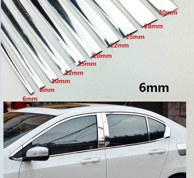 Auto Styling Width 6 MM Chrome Trim Styling Auto Aufkleber Form Streifen Exterior Innenausbau Dekoration 1M /2M /3M /5M /10M/15M