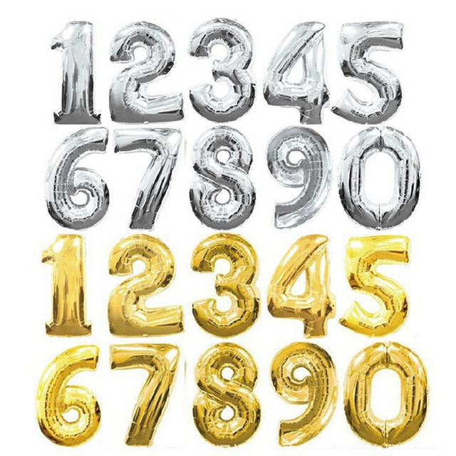TSZWJ 30 inches Gold Silver Number Foil Balloons Digit Helium Ballons Birthday Party Wedding Decor Air Baloons Event Party