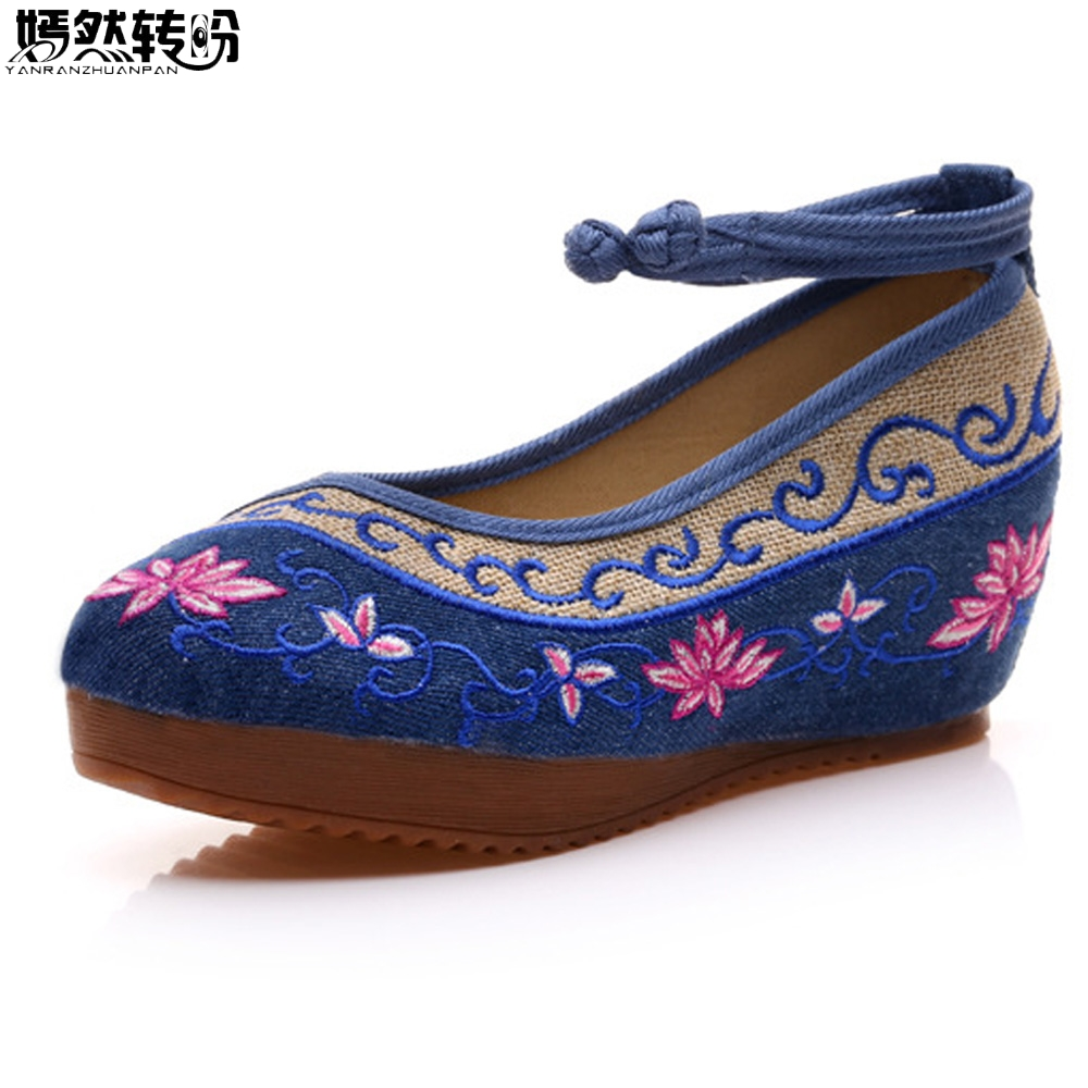 Chinese Women Pumps Canvas Cloth 5cm Heel Wedges Shoes Ladies Cotton Lotus Embroidered Platforms Zapatos Mujer Plus Size 41 2005 2006 2007 2008 2009 2010 for hyundai sonata rear trunk roof wing spoiler abs material high quality by primer or diy paint