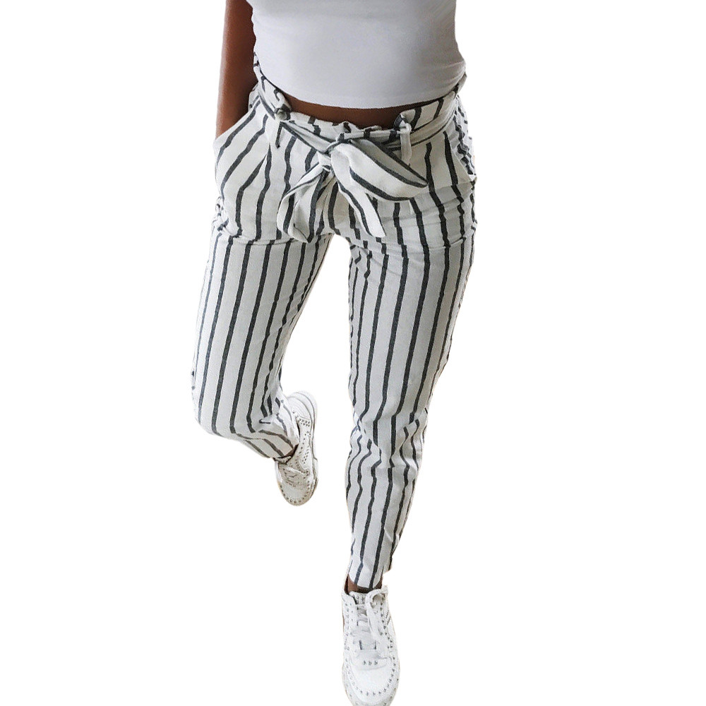 2019 New Fashion Skinny Women Striped Long Jeans Tie High Waist Hot Sale Ladies Drawstring White Ankle-Length Pants Trousers
