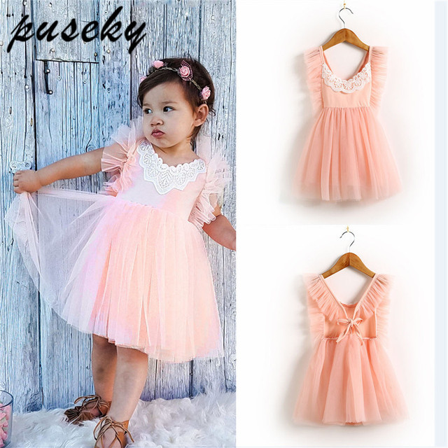 Puseky Infant Kid Girls Clothing Dress Floral Sleeveless Lace Tiered  Ruffles Cute Midi Party Gown Tulle 1bdebc52c846