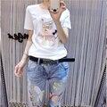 Nueva llegada del verano 2017 de la corto-manga más tamaño clothing rebordear delgado de la camisa básica