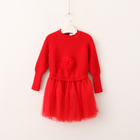 New Autumn Baby Girls Floral Knitting Mesh Long Sleeve Sweater Dresses Princess Kids Sweet Dress Wholesale