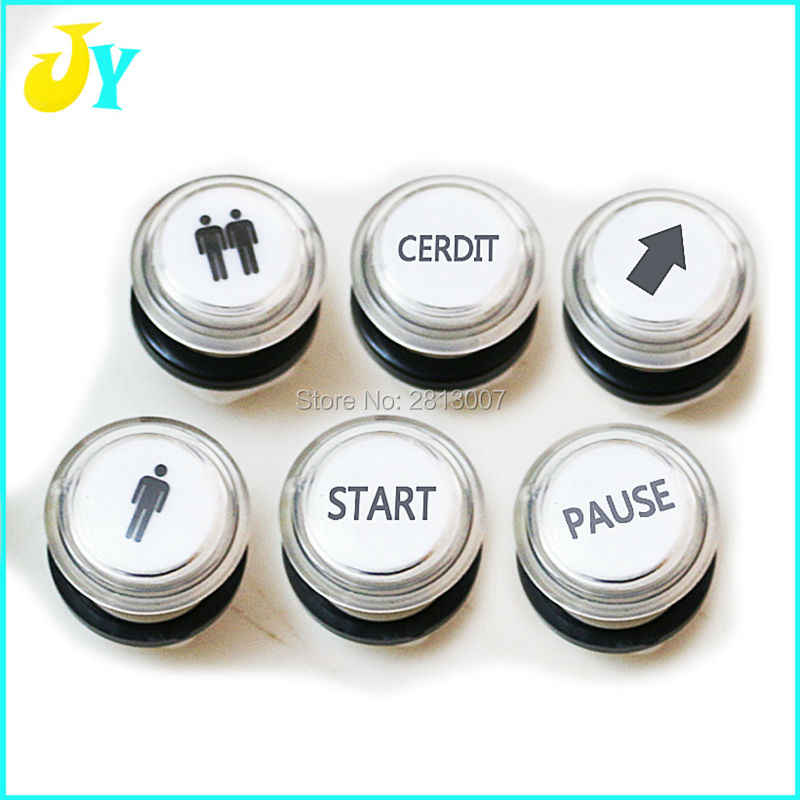 1 & 2 Player START CREDIT PASUE Arrow logo Arcade button 32mm Clear illuminated LED push button 12V switch button