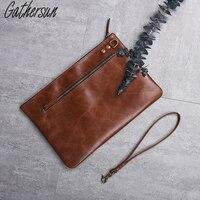 Gathersun 2017 Latest Men Genuine Leather Clutch Bag With Wristlet Full Grain Leather Handbag