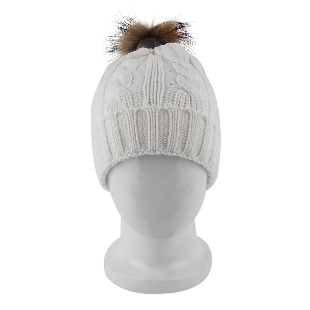 OUTAD 15cm Winter hat for Kids Ages 2-7 Knit Beanie winter baby hat for children fur Pom Pom Hats for girls and boys