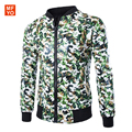 2016 New Fashion Short Slim Mens Jackets Camouflage Leopard Skull Printing PU Leather Sude Coat Men Baseball Jacket