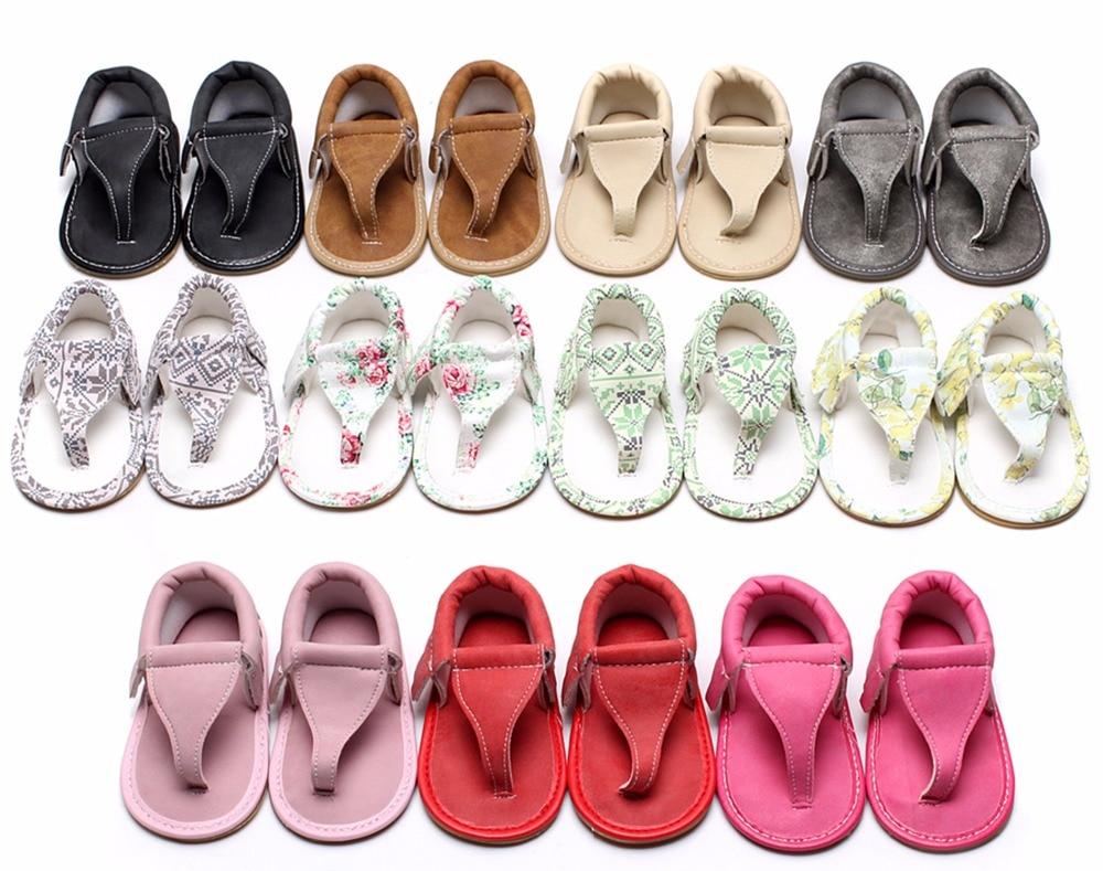 лидер продаж летние детские сланцы цветочные детские сандалии 11 цветов для мальчиков и девочек искусственная кожа мокасины резиновая подошва не скользит 0 - 24 м