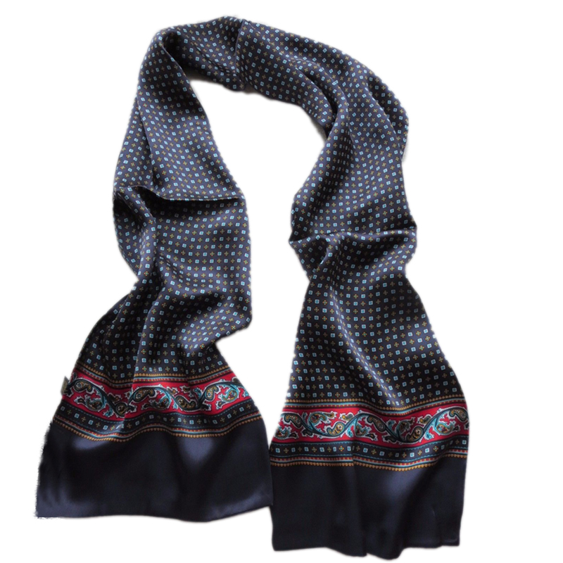 Men 100% Real Pure Silk Scarf Double Layer Floral Neckerchief For Christmas Gift Black Red Blue Grey Brown(China)