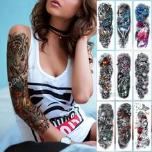Large Arm Sleeve Tattoo Lion Tiger Waterproof Temporary Tattoo Sticker Flame Warrior Men Full Skull Flower Tatoo Body Art women все цены