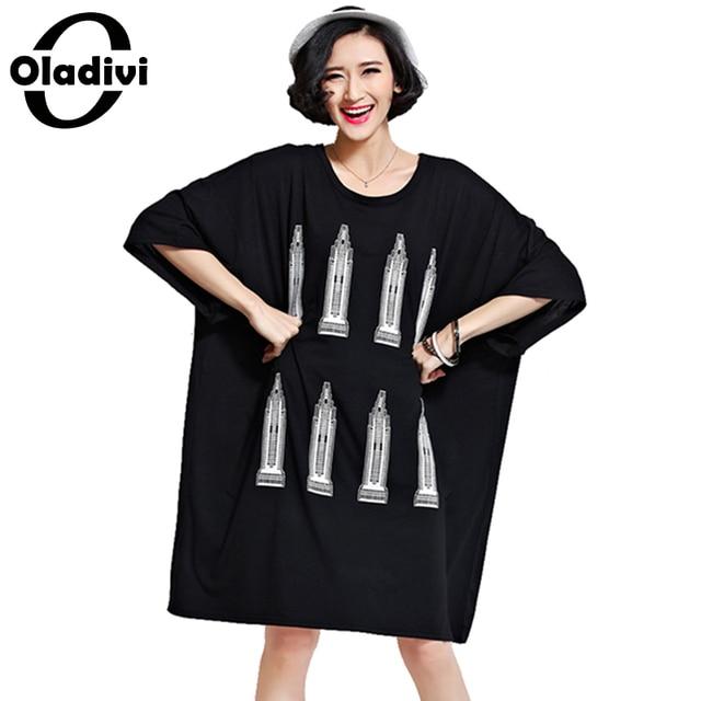 4b54e6d8f29 Oladivi Big Plus Size Woman Clothing Fashion Printed Long Shirt Dress Ladies  Tees Top Oversized Tunic Female Vestidios Femininos