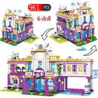 961 Uds., casa de lujo privada, bloques de construcción, figuras de amigos legosos, juegos de ladrillos, juguetes educativos para niñas