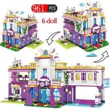Casa de bloques de construcción Villa de lujo privada para niñas, 961 Uds., amigos, figuras, Kits de ladrillos, juguetes educativos para niñas
