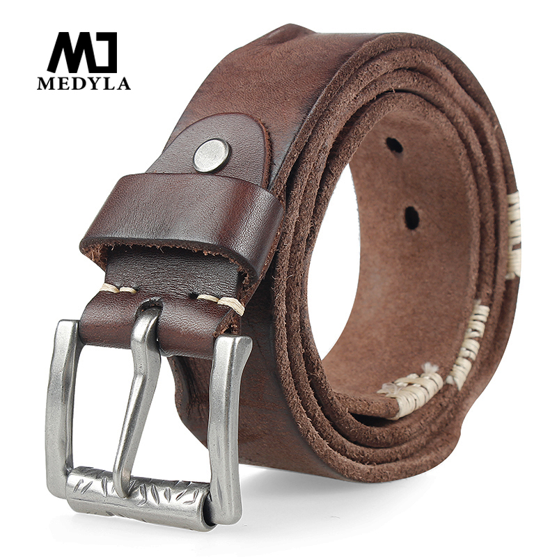 MEDYLA Original Cowhide   Belt   for Men Pin Buckle Full Grain Leather   Belt   for Jeans Wide Strap High Quality Cummerbunds