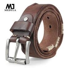 Оригинальный ремень MEDYLA из воловьей кожи для мужчин, ремень из зернистой кожи с пряжкой булавкой для джинсов, широкий ремень, высококачественный пояс