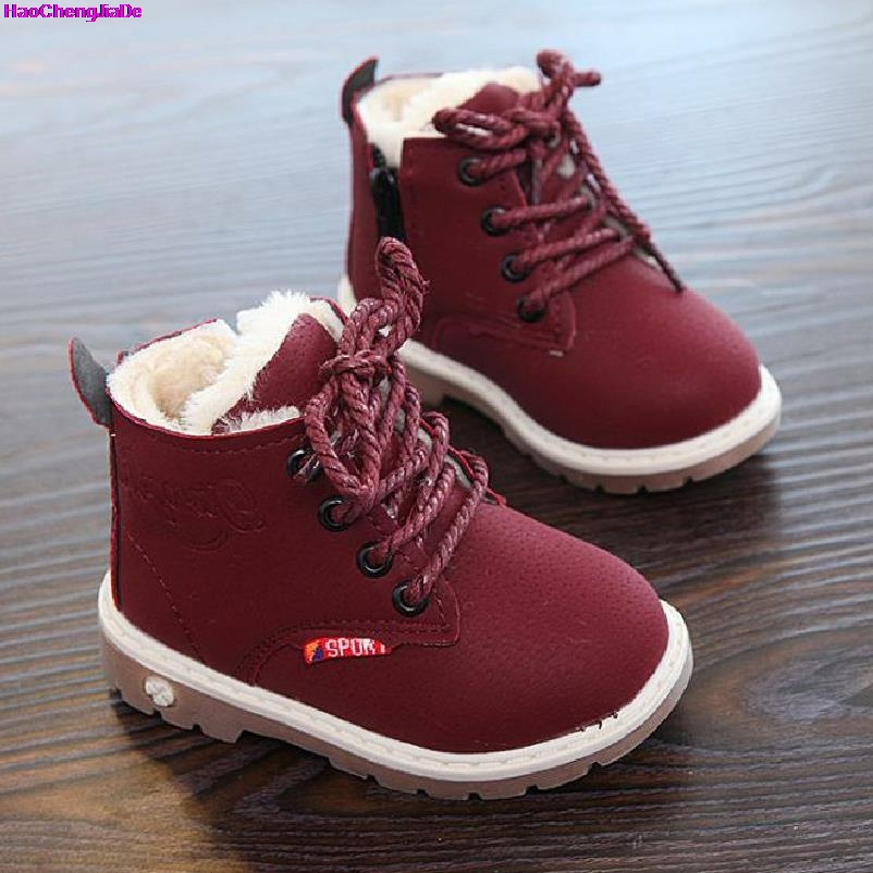HaoChengJiaDe 2018 Nouvelle D'hiver Pour Enfant Kid Fille Garçon Neige Bottes Confort Épais Antidérapant Bottes Courtes De Mode de Coton-rembourré chaussures