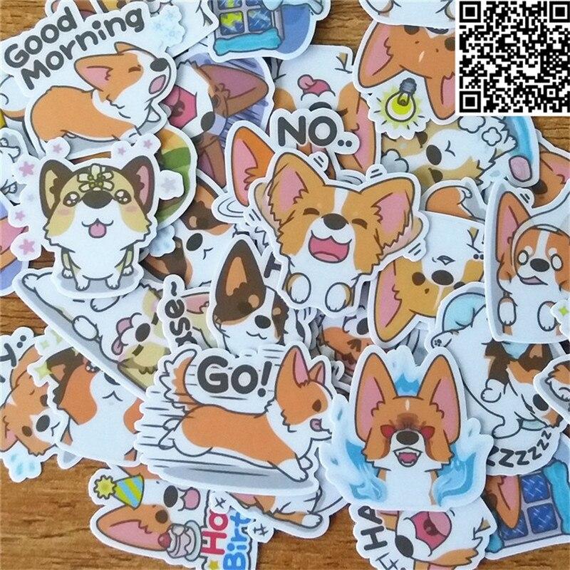 Купить с кэшбэком 38 Pcs dog expression  Sticker for Luggage Skateboard Phone Laptop Moto Bicycle Wall Guitar/Eason Stickers/DIY Scrapbooking