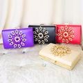 PU Flower Rhinestones Women Handbags Red Black Purple Gold Chain Shoulder Bags Metal Day Clutches Purse Wedding Wallets