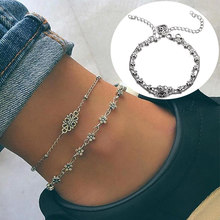 Double-deck Adjustable Girls Anklet Wedding Exquisite Bead Love 2PCS/Set Butterfly Chain Flower Seaside Hollow Silver Heart(China)