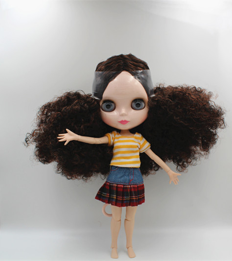 Blygirl Blyth doll Dark brown burst short hair nude doll 30cm joint body 19 joint DIY doll can change makeup