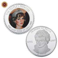 WR Creative Birthday Gifts the Princes of Wales 1961-1997 Commemorative Colored Metal Coin 1 oz Silver Plated Coin