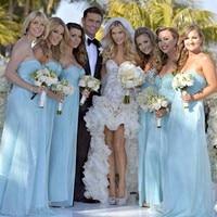 Formal Long Bridesmaid Dress Beaded Blue Bridesmaid Dress Chiffon Rhinestones Beautiful Vestido Madrinha For Wedding