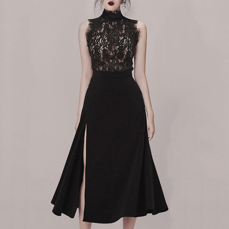 Max Spri 2019 New Style Women Sets O neck Floral Lace Sleeveless Top Side Slit High Waist Midi Skirt in Women 39 s Sets from Women 39 s Clothing