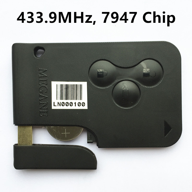 New Remote Key Smart Card 433MHz for RENAULT MEGANE 3 Buttons with Chip PCF7947 Keyless Entry Fob Car Alarm brand new high quality remote key keyless alarm 2 button for renault laguna smart card with insert small key blade 434mhz