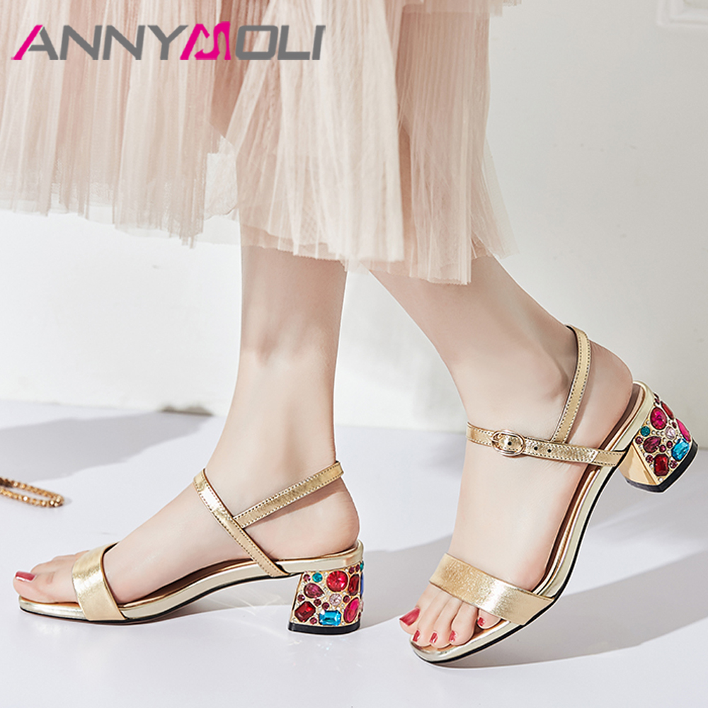 ANNYMOLI Summer Sandals Women Shoes Natural Genuine Leather Crystal Block High Heel Shoes Buckle Open Toe