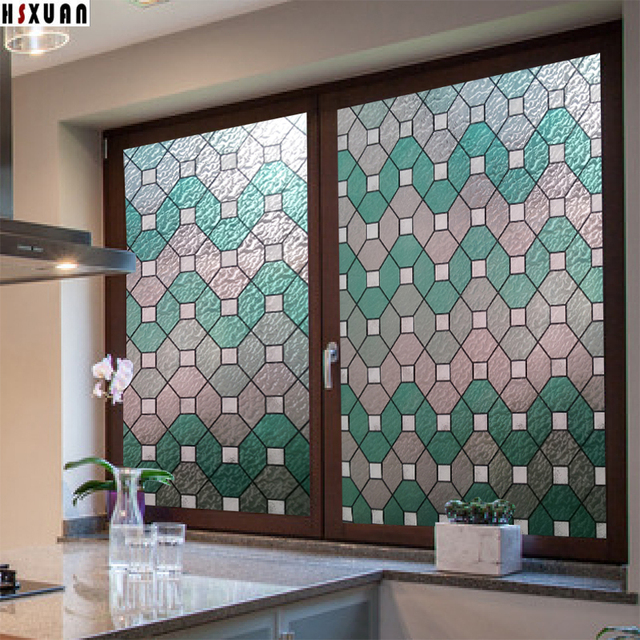 Stained Window Privacy Film Frosted 60x100cm 2D Square Opaque Bathroom  Window Removable Tint Film Sticker Hsxuan Brand 600312
