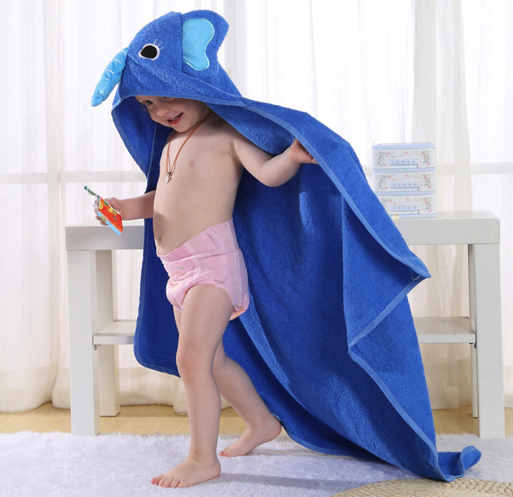 Kid Baby Care Bath Towels 90*90cm Bathrobe Children Infant Newborn Shower Products Square Cute Cartoon Water Absorption with Hat