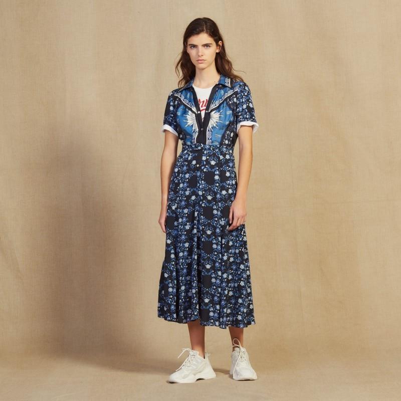 Women Dress 2019 Spring and Summer New turn down collar Print Loose Short sleeved Dress