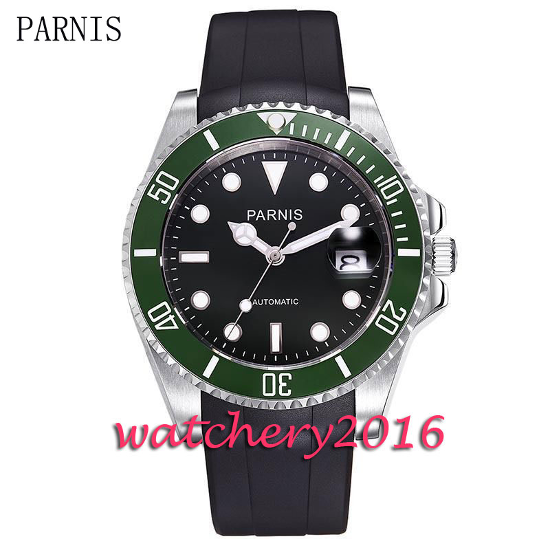 New 40mm Parnis black dial luminous marks sapphire glass date adjust green ceramic bezel Automatic movement Men's Watch new forcummins insite date unlock proramm
