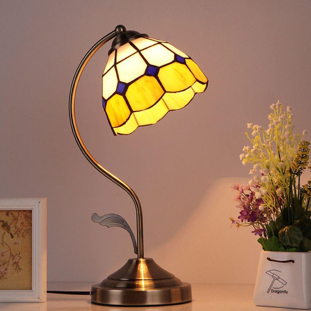 Vintage Tiffany LED Table Lamp E27 Bulb Light Baroque