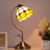 Vintage Tiffany LED Table Lamp E27 Bulb Light Baroque Metal Desk Lamp Mosaic Stained Glass Bedside Lamp for Home Bedroom Decor