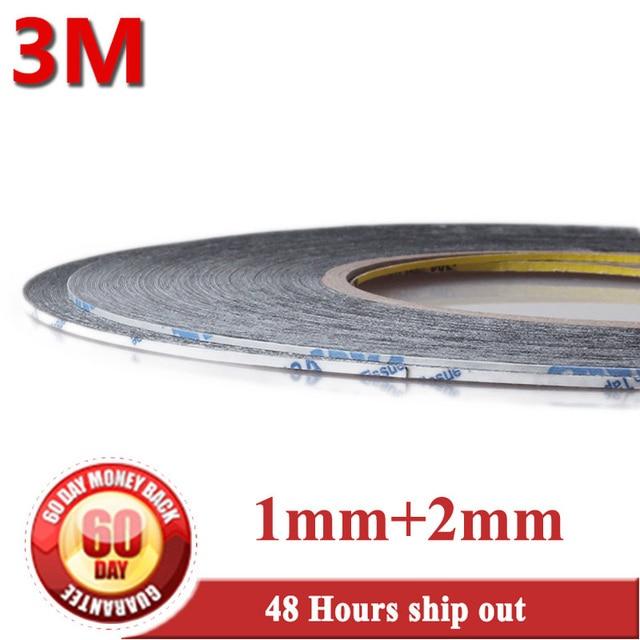 Mezcla 2 rollos (1mm + 2mm de ancho), 50 metros de largo, 3 M 9448 doble cinta adhesiva negra, Enlace para Samsung Xiaomi Huawei pantalla bisel