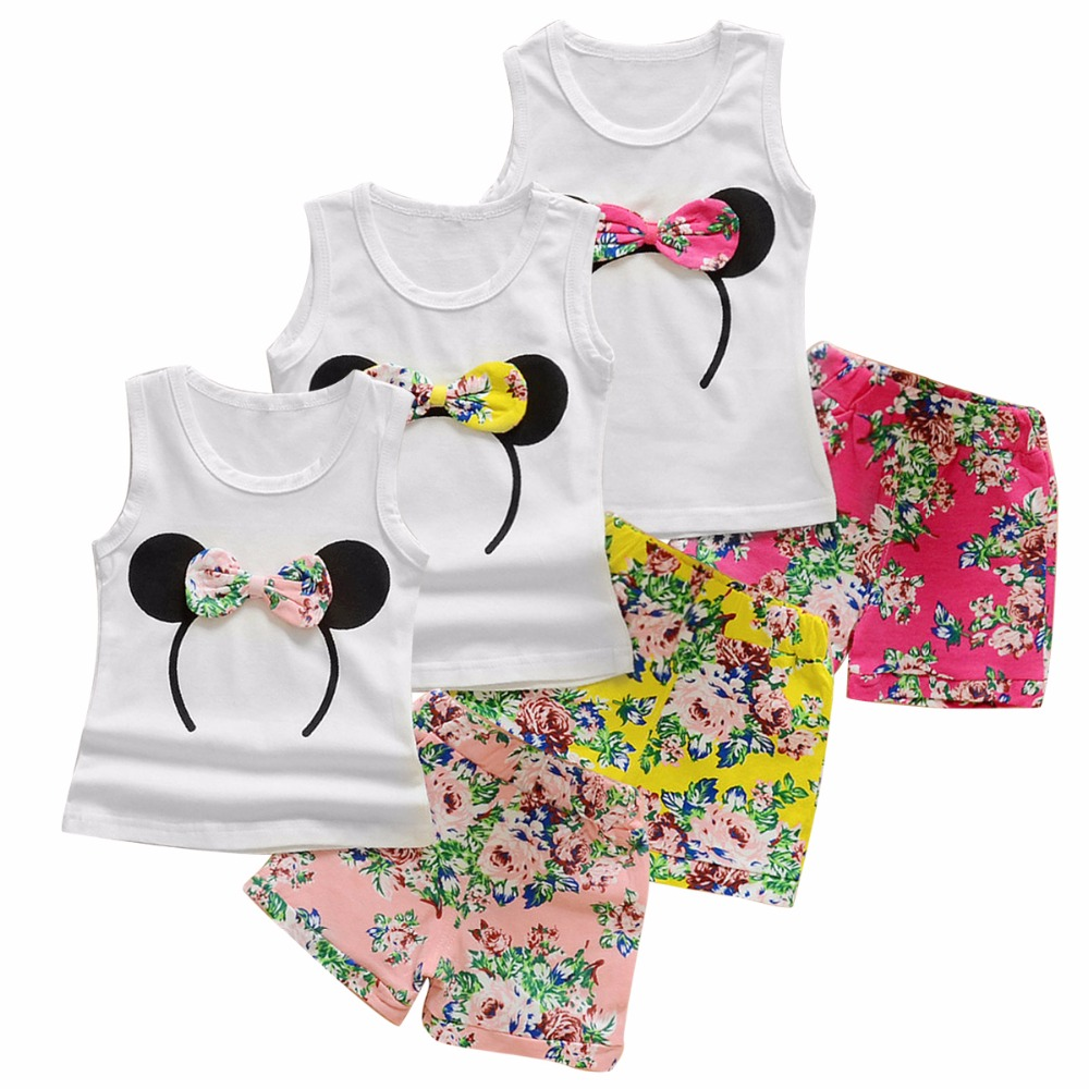 Puseky Multi-colored Girls Summer Sleeveless Outfits Baby Girl Minnie Vest Top+Bowtie Shorts Pants Set Clothes Kids Outfit 1-6Y flower sleeveless vest t shirt tops vest shorts pants outfit girl clothes set 2pcs baby children girls kids clothing bow knot