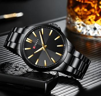 CURREN 8322 Mens Watches Luxury Fashion Mens Black Glod Stainless Steel Quartz Wrist Watch Male Watch