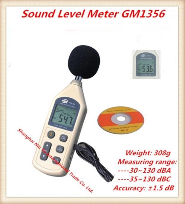 Electronic 2014 new Sound Level Meter GM1356 Measuring range is 30~130 dBA,35~130 dBC Hotsale USB decibel sound level meter ar814 30 130 dba 35 130 dbc digital decibel meter