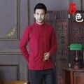 Verano Nuevo Cuello Mao Sólido Rojo Chino Tradicional de Los Hombres de Algodón largo manga de la camisa de kung-fu escudo ml xl xxl xxxl D02