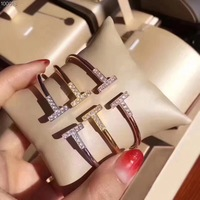 Hot famous brand jewelry zircon letter T bracelet ,women 925 sterling silver smile cuff cz bangle