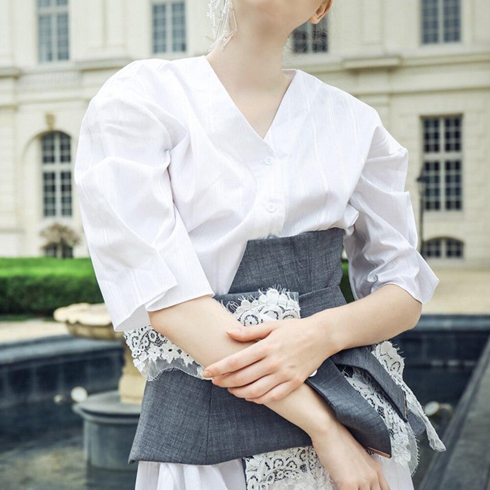 Blanche Joint Chemise Patchwork Robe 2019 Taille Dentelle Nouveau T Andages Robes shirts Demi Style Blanc Kohuijoo V Cou D'été Manches qfZnAxEwE