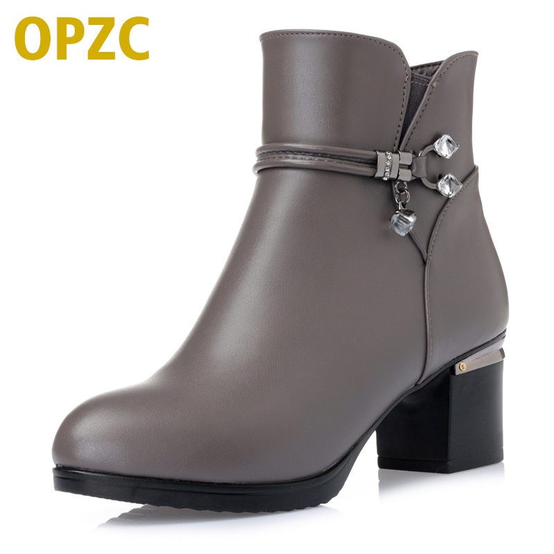 OPZC Women Boots shoes Genuine leather snow boots winter slope with thick wool warm ankle boots Women's boots plus size-27151 serene handmade winter warm socks boots fashion british style leather retro tooling ankle men shoes size38 44 snow male footwear